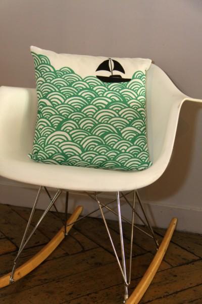 3_Bigger Boat Cushion - Turquoise Green