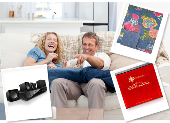 Film Night HTS2511 Home Cinema Sound System, Philips; Vintage Throw, Opulence; Valentine's Truffles Box, Montezuma's