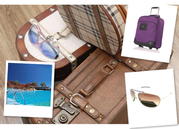 Romantic Getaway, ACHICA Travel by Secret Escapes; Bloomsbury Marseille 50cm Carry On in Ultraviolet, knomo; Unisex Sunglasses in Gold & Brown, Dior