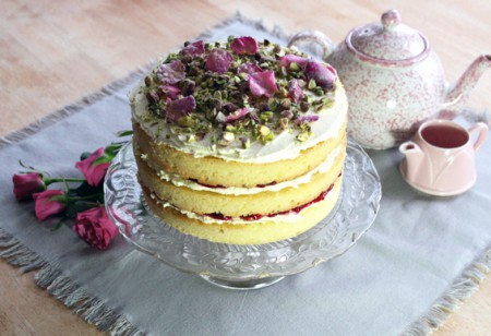 Baking for Mother's Day: rosewater and pistachio cake