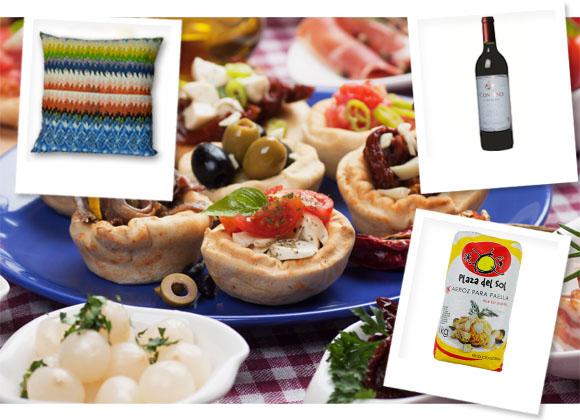 Indoor Picnic, Cushion, Opulence; Rioja Garnacha, Contino; Paella Rice, Plaza del Sol