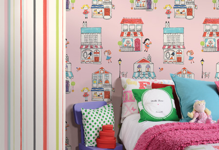 Cool children's bedroom wallpaper